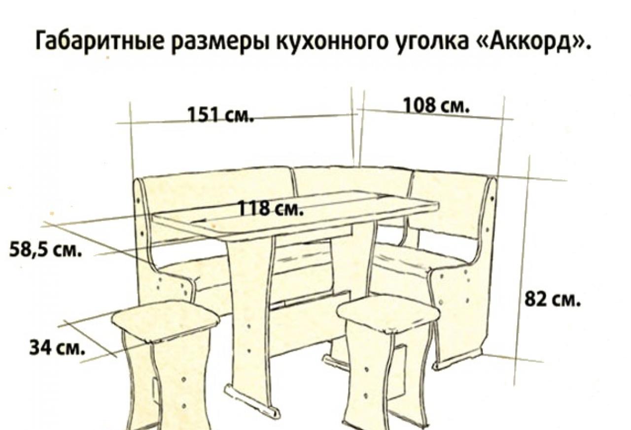 Схема кухонного уголка с размерами